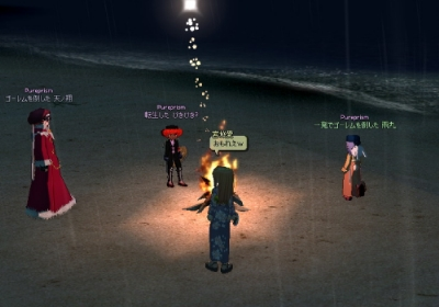海辺で花火