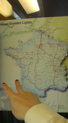 TGVの地図。