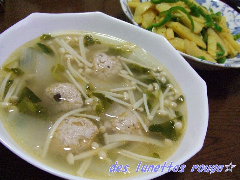 肉団子スープ&ジャガカレー炒め