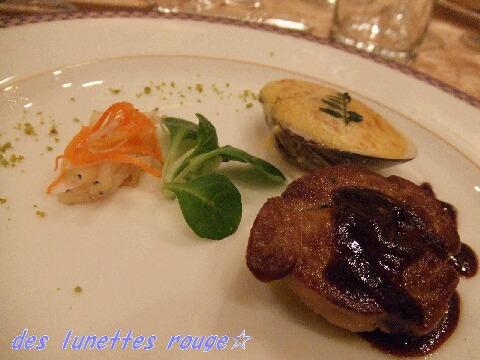 フォアグラのソテーと大根のブイヨン煮 蛤のサバイヨングラタン木の芽風味 湯葉で巻いた白魚のエスカベッシュ