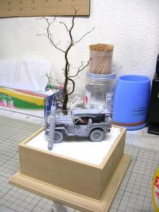 完成した立ち木とダイオラマベース