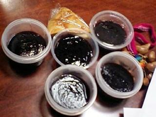 紫トウモロコシのプリン&たぶん栗のお菓子