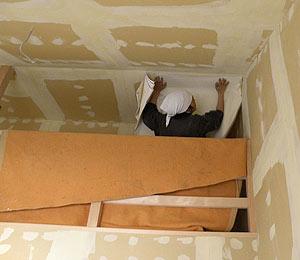 ロフト天井を張っています。斜め