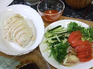 210715夕ご飯蒸し鶏2