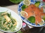 サーモンマリネ&ミズナの炒め物