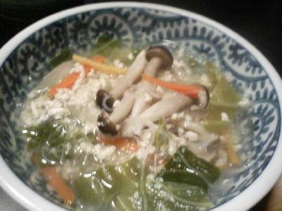春雨の親子スープ