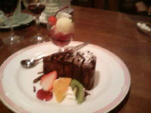 チョコレートケーキとアイス