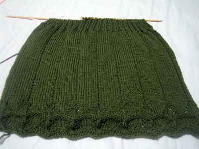 後ろ身頃:ゴム編み開始