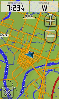 GPSに地図追加 道路、川、沢が現れる!!
