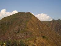 神居尻山 頂上手前 右と左の斜面は確かに違う