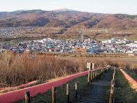 ズリ山階段 赤平市が見渡せる