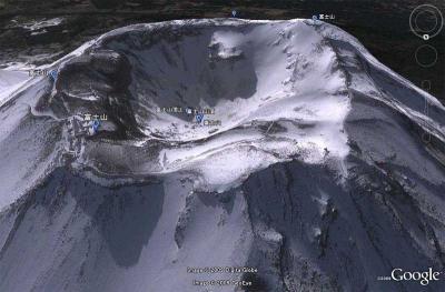 Google-Earth 富士山の頂上画像写真