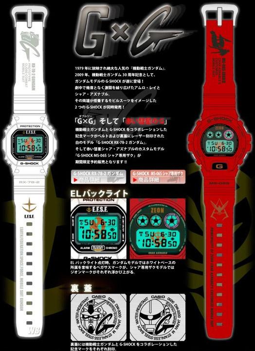 機動戦士ガンダムとカシオG-SHOCKシリーズとのコラボ腕時計