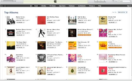 US iTunes Album Charts Wed 2 Feb 2011