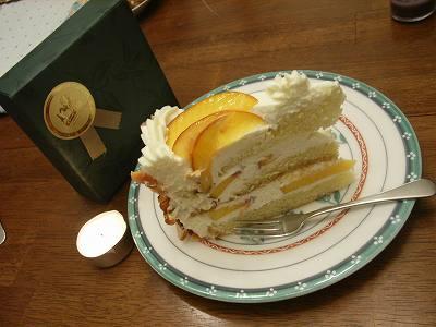 桃のケーキ、美味しゅうございました