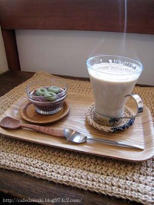 omoya cafe&lunch◇カフェオレ&プチデザート(よもぎ白玉)