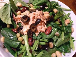 ほうれん草とツナと豆のサラダ