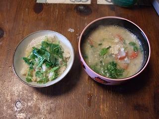 蟹ご飯と粕汁