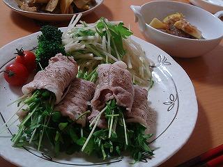 野菜の豚肉巻き・たけのことこんにゃく