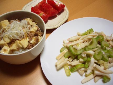 イカとセロリの炒め物 麻婆豆腐丼