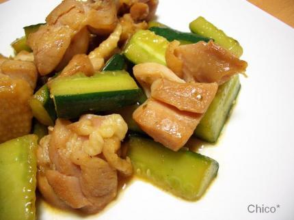 鶏と胡瓜の柚子胡椒炒め