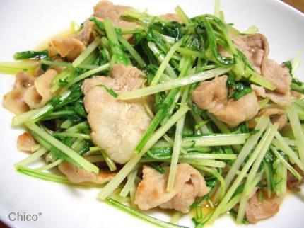 水菜と豚肉のあっさり炒め