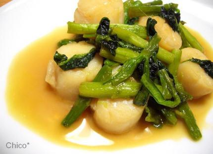 帆立貝柱と小松菜のナンプラー炒め