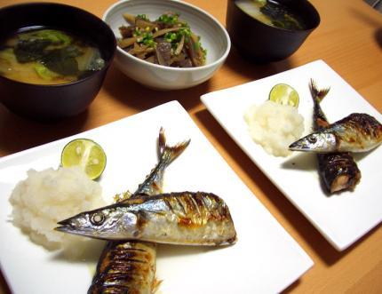 旬な秋刀魚の塩焼き