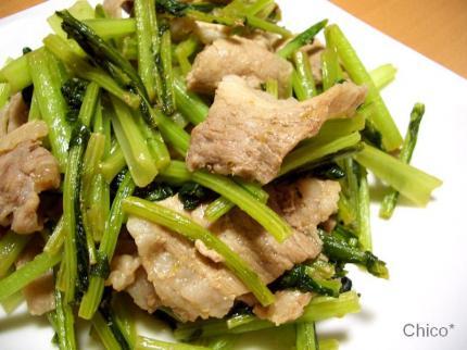 蕪の葉と豚肉の柚子胡椒醤油炒め