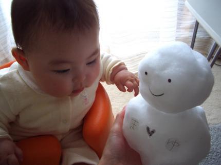 娘と雪だるま♪