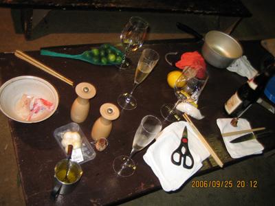 テーブルのグラス