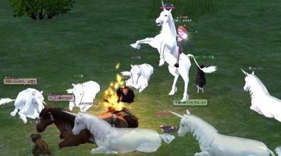 火にたむろする動物達