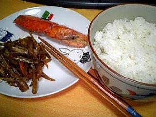 料理 2009年7月4日 焼き鮭ときんぴらごぼう