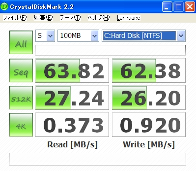 PC関係 2009年8月2日 ハードディスクの読み書き速度