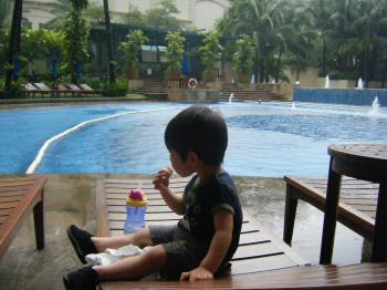 Kai at pool side