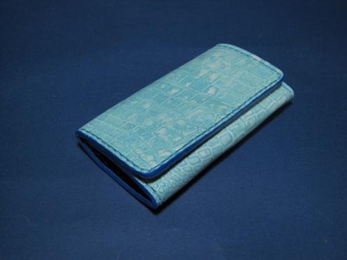 本革キーケース ブルー