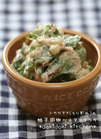 シカクマメ(うりずん)の柚子胡椒ツナマヨサラダ