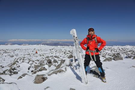 蓼科山 頂上で記念写真