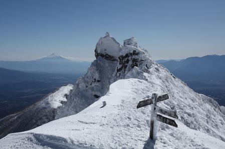 権現頂上と富士
