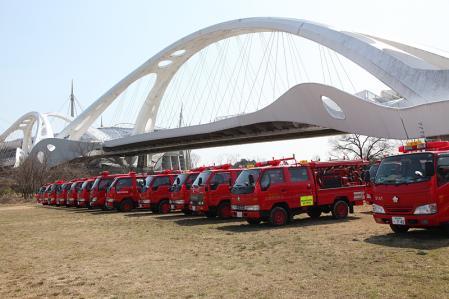 豊田市の消防団の消防車勢揃い。