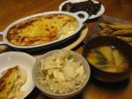 竹の子ご飯、若竹汁、長芋のグラタン、ワカサギフライ、ピーマンの肉詰め