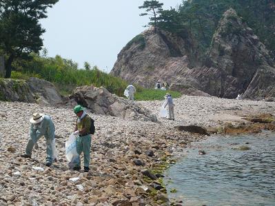 海岸沿いの清掃作業の様子だよ。