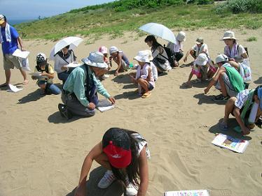 砂の温度を計測中!