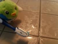 古歯ブラシを使ってゴシゴシ・・・