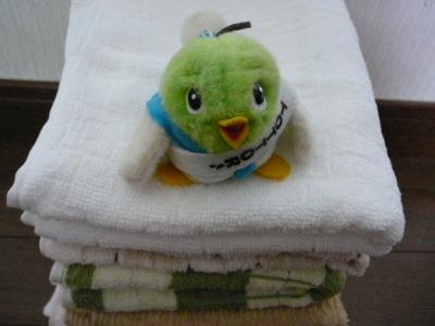 洗い立てのタオル、気持ちいいね♪