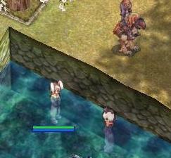 アマツの温泉にゆったりとつかる図