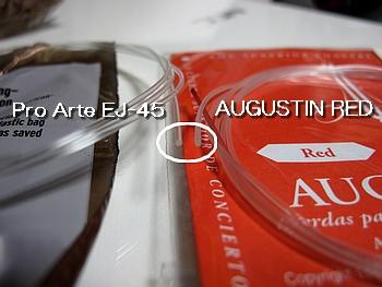 D'AddarioのPro Arte EJ-45とAUGUSTIN REDの比較