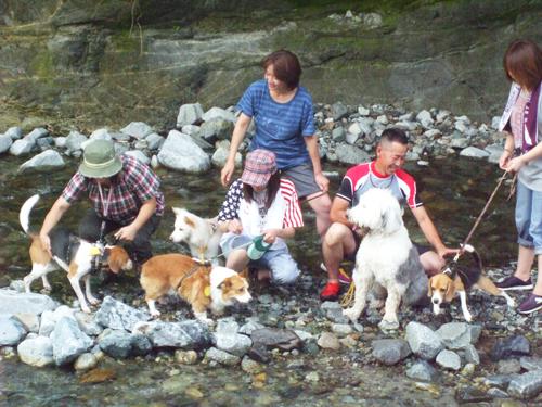 川の中で集合