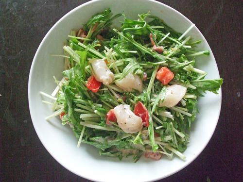 水菜と貝柱のサラダ