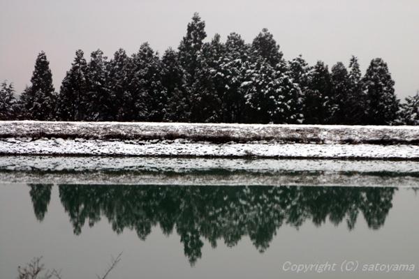 池の雪景色